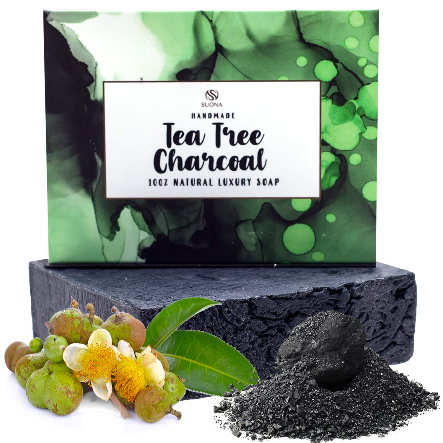 Tea Tree Organic Soap Bar - Gentle Antibacterial Face & Body Wash With Peppermint Oil & Activated Charcoal For Natural Antimicrobial Care.Aids Blemish Prone Acne Skin,Itchy Skin,Eczema. Healthy Gift Ideas
