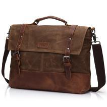 "Laptop Messenger Bag 15.6"" for Men Waxed Canvas Vintage Leather Business Briefcase Shoulder Bags Waterproof"