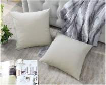 COMFORTLAND 16x16 Throw Pillow Covers Beige White: 2 Pack Cozy Soft Velvet Square New Year/Christmas Decorative Pillow Cases for Farmhouse Sofa Couch Bed Chair Home Decor Decorations