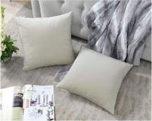 COMFORTLAND Throw Pillow Cases 20x20 Beige White: 2 Pack Cozy Soft Velvet Square New Year/Christmas Decorative Pillow Covers for Farmhouse Sofa Couch Bed Chair Home Decor Decorations