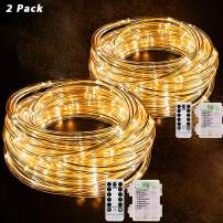 40FT 120 LED Rope Lights,Battery Operated String Lights 8 Modes Fairy Lights with Remote Timer,Outdoor Decoration Lighting for Garden Patio Party,Weddings,Christmas Décor