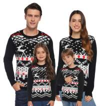 Abollria Christmas Sweater for Family Matching Ugly Christmas Reindeer Knitted Sweater Pullover (Dad,Mom,Kids)