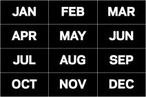 MasterVision Months of The Year Magnets, 1 x 2 Inches Each, 12 Magnets, Black/White