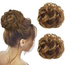 2 PCS Updo Messy Bun Hair Piece Synthetic Wavy Bun Extensions Ponytail Hairpiece-Chocolate Brown & Strawberry Blonde 6AH27