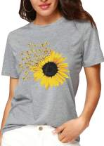 Sunflower T Shirt Sunshine Dragonfly Shirts Funny Short Sleeve Floral Plant Cute Tee Shirt for Women