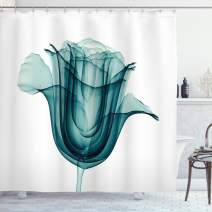"Ambesonne Flower Shower Curtain, X-ray Image of a Rose Flower Romance Creative Nature Picture Print, Cloth Fabric Bathroom Decor Set with Hooks, 75"" Long, Teal White"