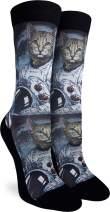 Good Luck Sock Women's Astronaut Cat Socks - Black, Adult Shoe Size 5-9