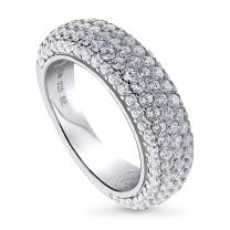 BERRICLE Rhodium Plated Sterling Silver Cubic Zirconia CZ Statement Wedding Half Eternity Band Ring