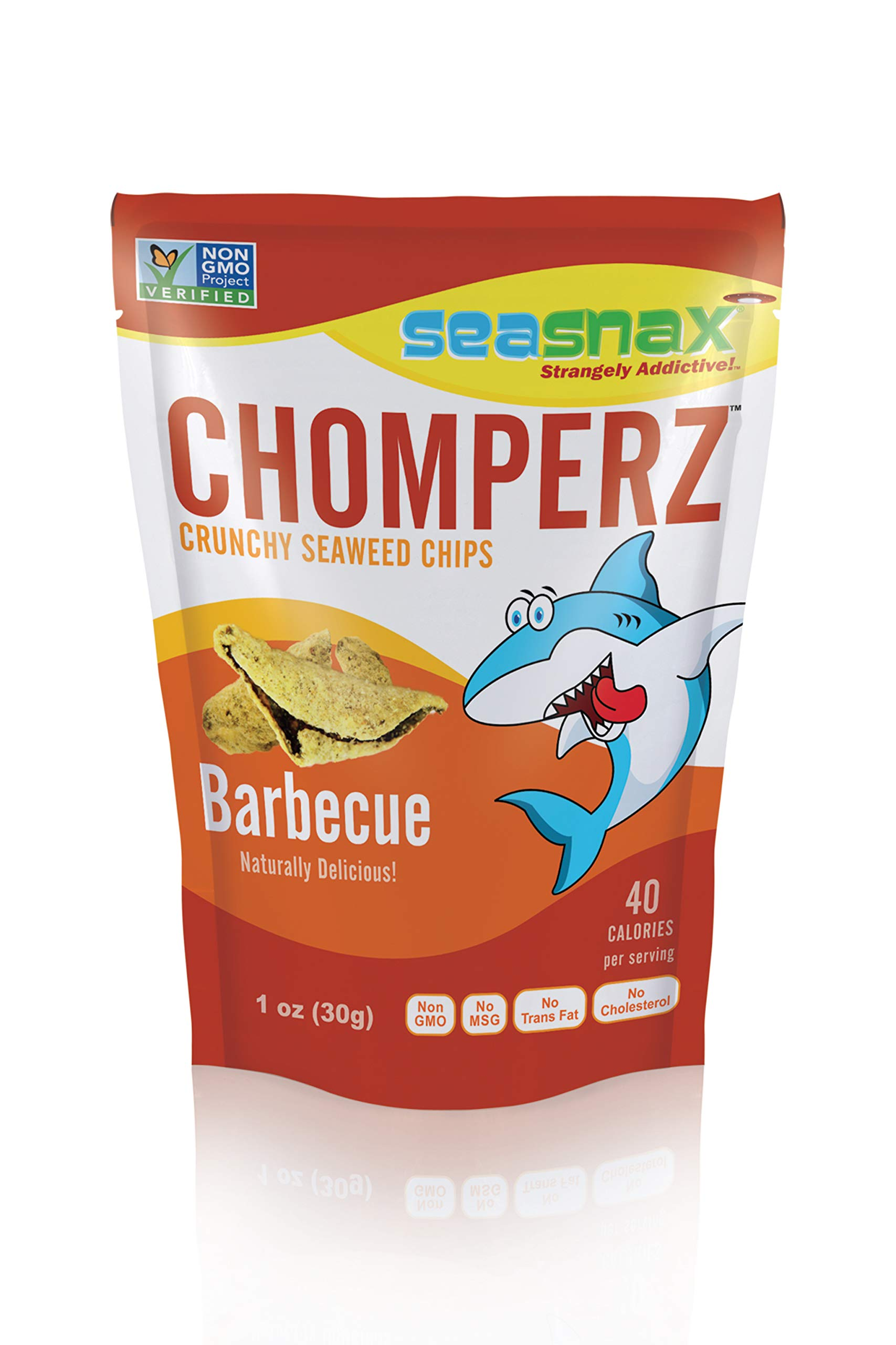SeaSnax Chomperz Crunchy Seaweed Chips Barbecue, 1 oz (Pack of 8)