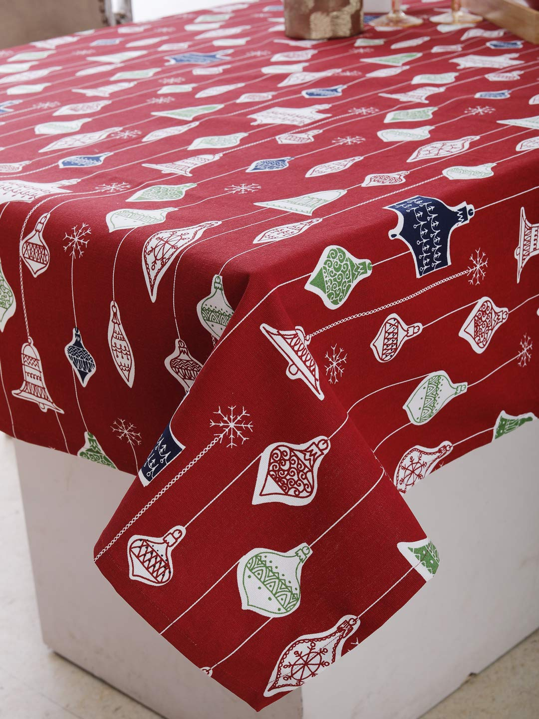 "Plush Home Table Cloth - Hanging Bells, 100% Cotton, Rectangular Table Cloth of Size 52""X70 Inch, Eco - Friendly & Safe."