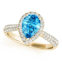 MauliJewels 1.55 Ct. Ttw Diamond and Pear Shaped Blue Topaz Ring in 10K Yellow Gold