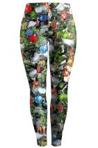 Meenew Women's Digital Print Funny Christmas Leggings Stretchy Active Tights