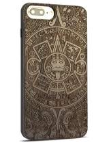Compatible for Cool iPhone 8 Plus Case, Nature Real Wood Engraving Pattern Unique Black Wood Grain Protective Case for iPhone 7/8 Plus