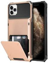 SAMONPOW Credit Card Holder Case for iPhone 11 Pro Case with 4 Card Holder Hard PC Soft Hybrid Rubber Anti Scratch Shockproof Heavy Duty Cover for iPhone 11 Pro 5.8 inch Rose Gold