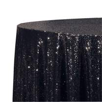 Poise3EHome 50-Inch Round Sequin Tablecloth for Party Cake Dessert Table Exhibition Events, Black