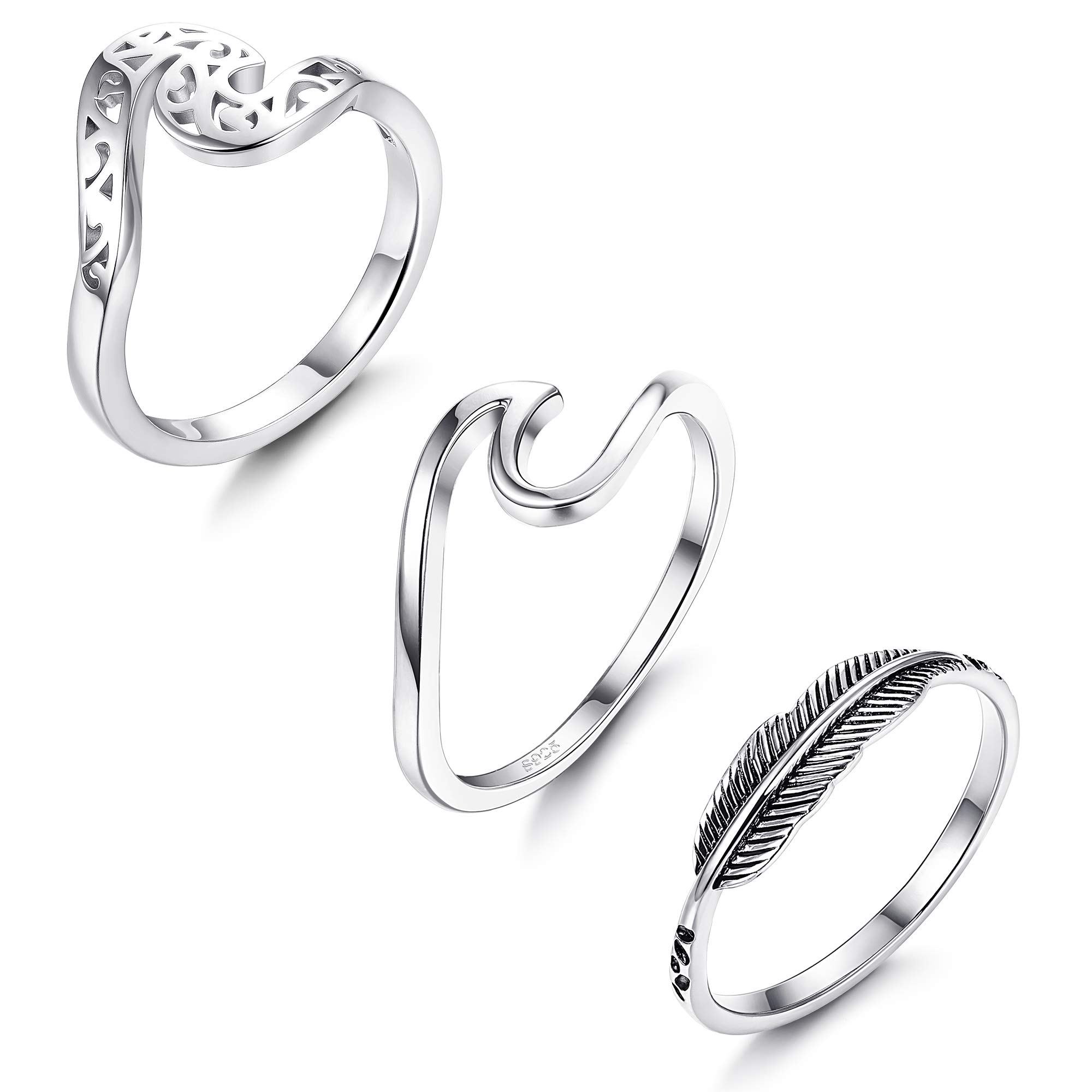 LOYALLOOK 3PCS 925 Sterling Silver Wave Rings for Women Fashion Leaf Feather Ring infinity Band Rings Ocean Wave Thumb Rings, 5-10