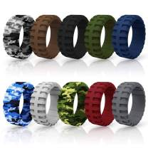 Ninge Silicone Rings,Silicone Wedding Ring Tire Tread Design Rubber Wedding Bands for Men – 9 mm Wide Size(7 8 9 10 11 12 13 14)-10Pack