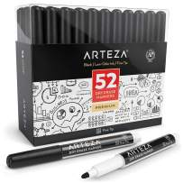 ARTEZA Dry Erase Markers, Bulk Pack of 52 (with Fine Tip), Black Color with Low-Odor Ink, Whiteboard Pens is perfect for School, Office, or Home