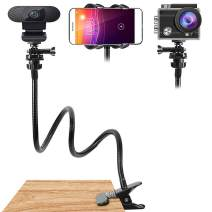 21 inch Webcam Stand and Phone Holder Flexible Arm Desk or Bed Gooseneck Phone Mount Stand Clamp for Cell Phone(Holder Only)