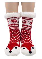 Women Winter Slipper Socks Cute Animal Cozy Warm Fuzzy House Socks with Gripper Christmas Socks