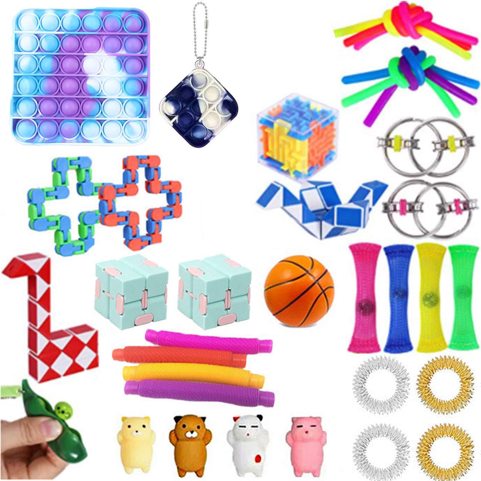 Komoo Fidget Toy 31Pcs Packs Cheap, Simple Dimple Fidget Toys Fidgets Box, Decompression Keychain Toy, Push Pop Bubble Sensory Toy for Kids and Adults (F-3)