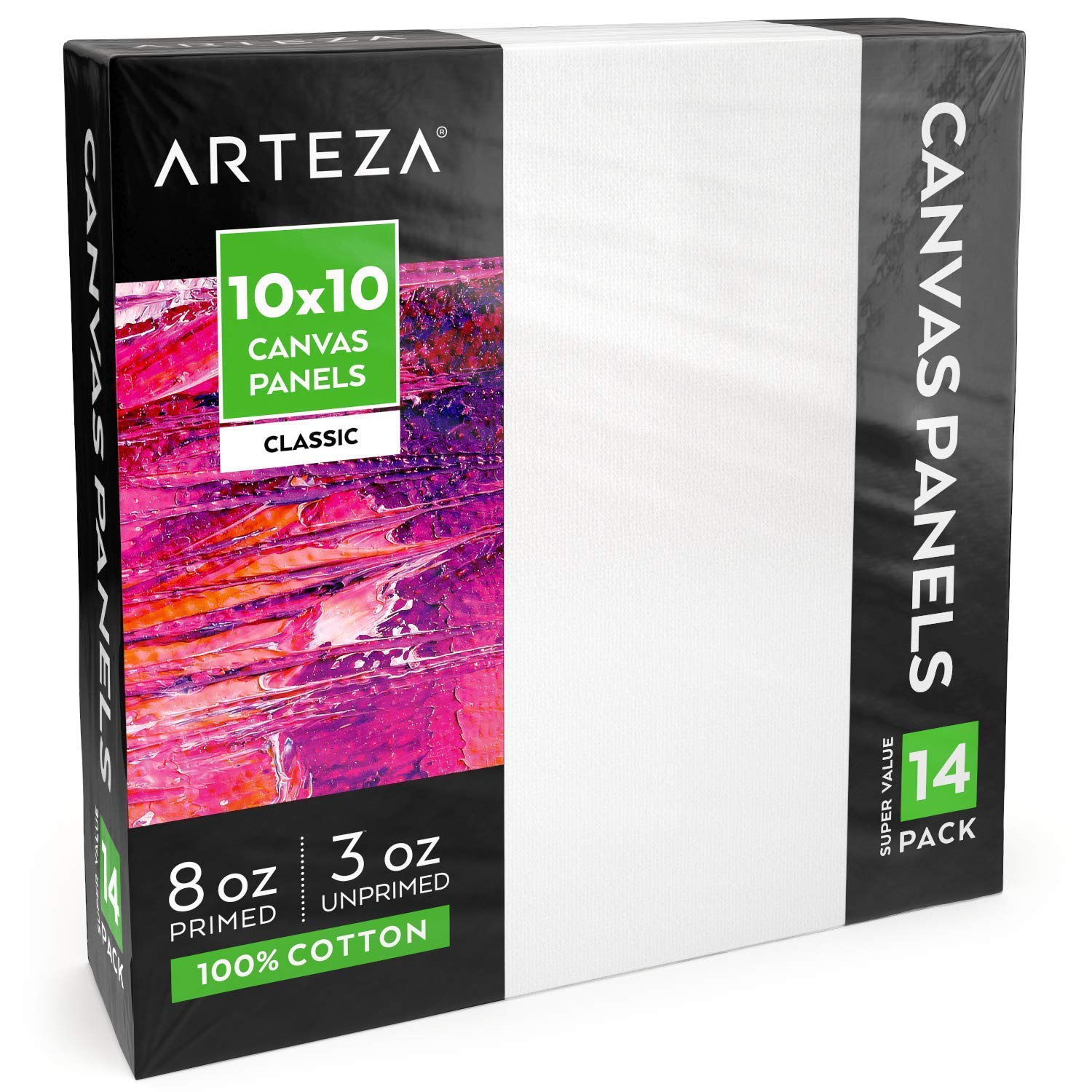 ARTEZA White Blank 100% Cotton Square Canvas Panels Boards, 10 x 10 Inches, Primed Canvases for Acrylic Painting, Oil Paint & Wet Art Media, Pack of 14