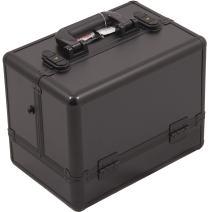 SUNRISE Makeup Artist Case C3002 Organizer, Two 3 Tier Trays, Locking with Shoulder Strap, Black Matte