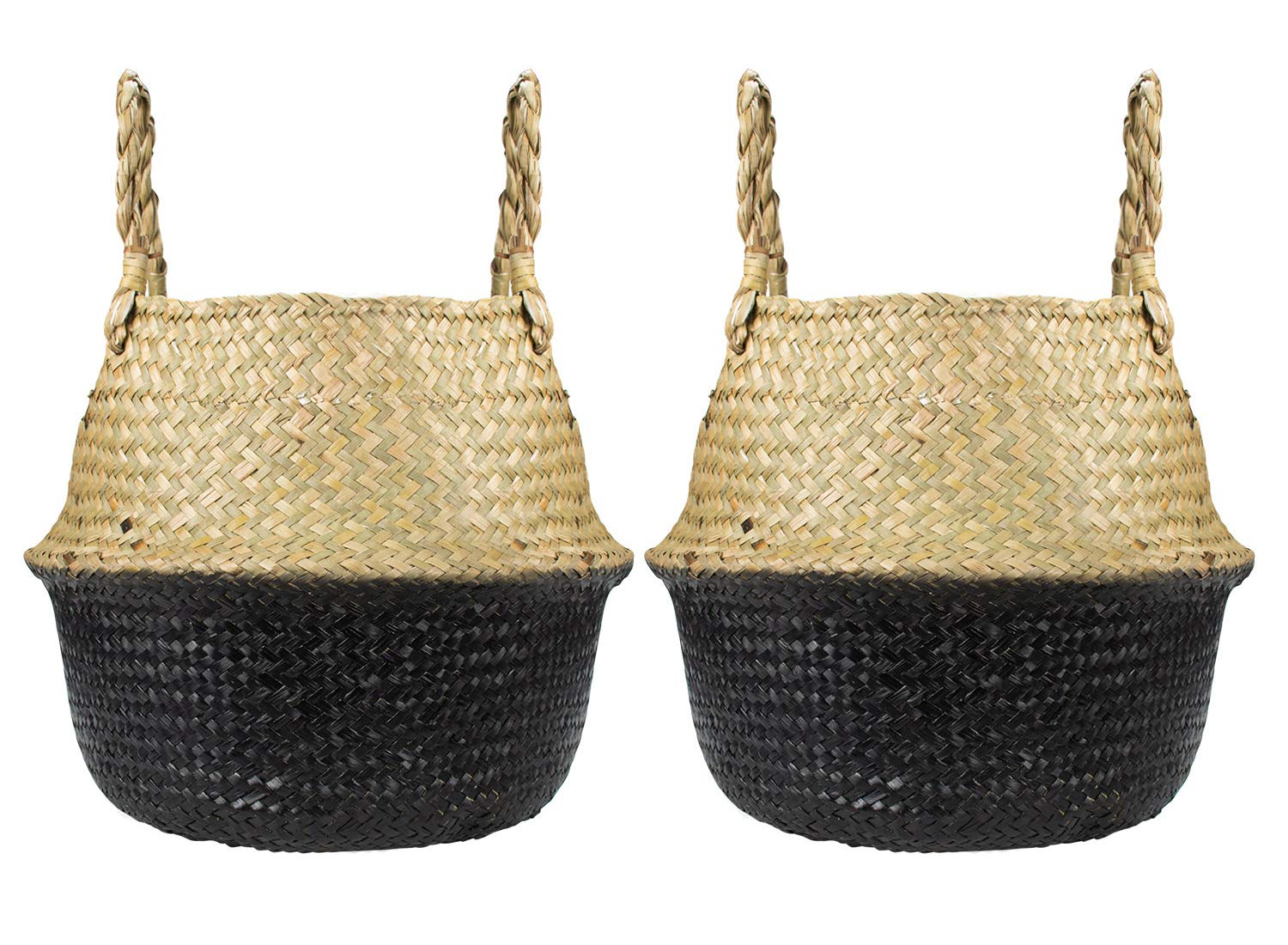 Yesland 2 Pack Seagrass Belly Basket, Black Hand Woven Plant Basket with Handles, Perfect for Storage, Laundry, Picnic, Plant Pot Cover, Toy Storage (S)