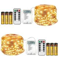 2 Pack Fairy Lights (Battery Included) 16.4Ft 50 LED 8 Modes Twinkle String Lights Battery Operated Fairy Lights Waterproof Copper Wire with Remote Control(Warm White)