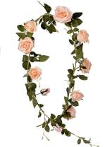 LUSHIDI 5.9Ft Artificial Rose Vine Silk Flower Garland Hanging Vines Home Outdoor Wedding Arch Garden Wall Decor,Pack of 1 (Pink)