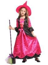 ZOEREA Girls Halloween Costume Dress Fairytale Witch Party Dress Up Pumpkin Hat Red