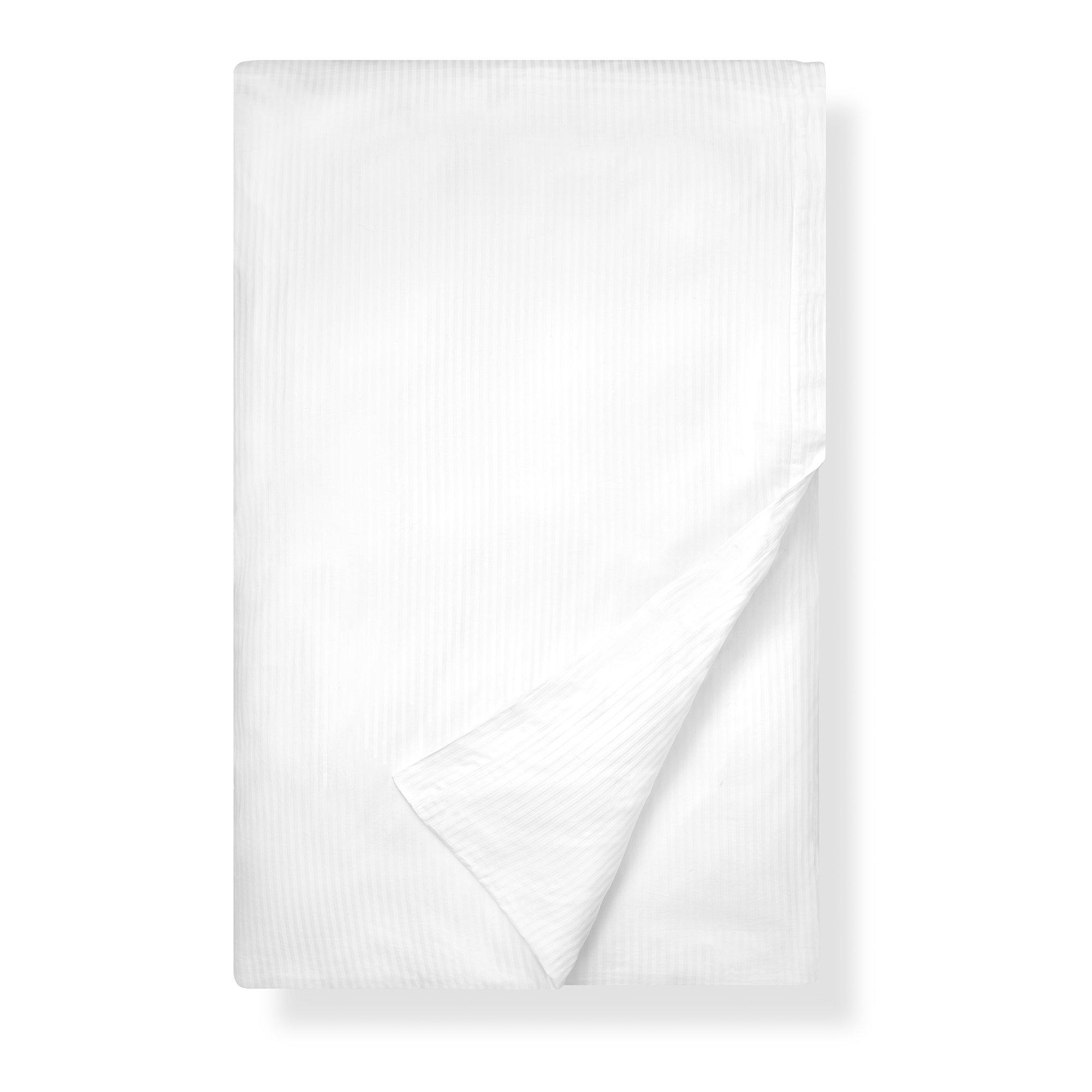 Boll & Branch Luxury Long Staple Organic Cotton Duvet Cover in Striped White - Full/Queen