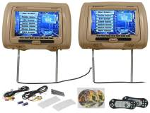 "Rockville RTSVD961-BG 9"" Beige Touchscreen Dual DVD/HDMI Car Headrest Monitors"