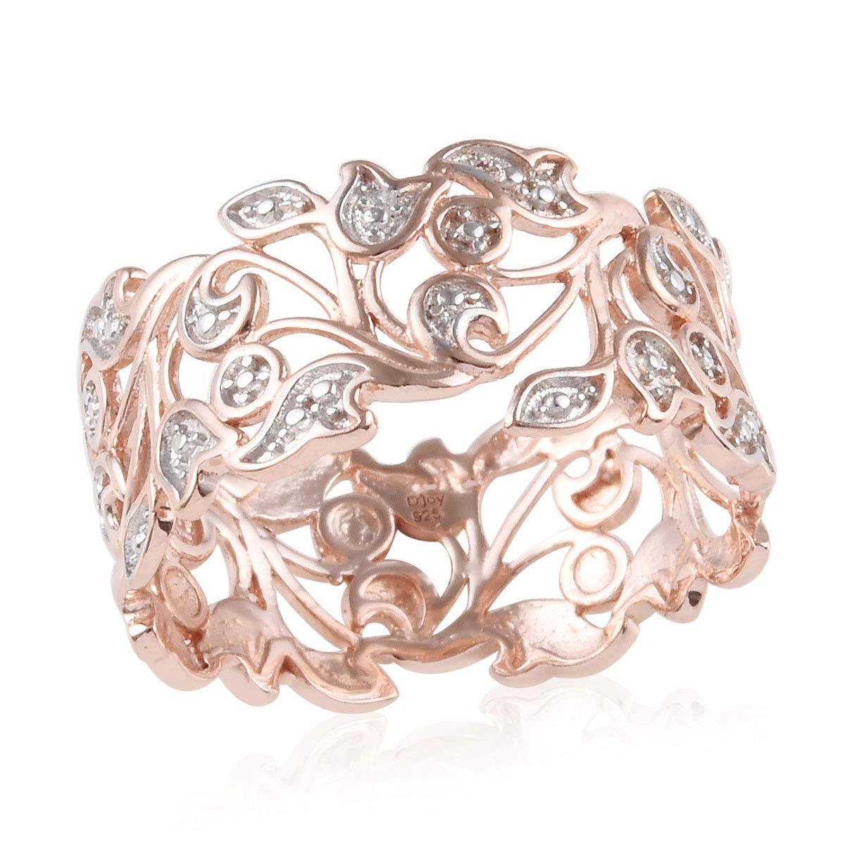 925 Sterling Silver 14K Rose Gold Plated Round Diamond Statement Ring for Women Jewelry Gift H-I Color I3