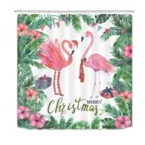LB Christmas Flamingo Shower Curtains for Bathroom Tropical Floral Palm Leaf Shower Curtain with Hooks Watercolor Design Bathroom Decorations 72x78 inch Extra Long Polyester Fabric Waterproof