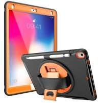 iCyber iPad Air Case (3rd Gen),iPad 10.5 2019 Case,iPad Pro 10.5 2017 Case with Pencil Holder,Built-in Kickstand and Hand Strap Protective Case for iPad Air 3/iPad Pro 10.5 Black Orange