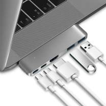 """Purgo USB C Hub Adapter for 2020/2019/2018 MacBook Air, 2020/2019-2016 MacBook Pro 16"""",15"""",13"""", Ultra Slim Type C Hub with 4K HDMI, 100W Power Delivery, 40Gbps TB3 and 2xUSB 3.0 (Space Grey)"""