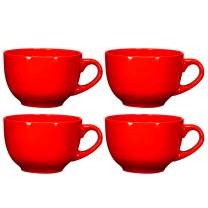 Jumbo Soup Bowl and Cereal Mugs Wide Ceramic Mug Set of 4, 24 Ounce, By Bruntmor, Gradient Red