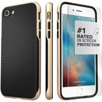 iPhone 8 Case and 7 Case, SaharaCase Trend Series Protection Kit Bundle with [ZeroDamage Tempered Glass Screen Protector] Fashion Design [Shockproof Bumper] Slim Fit - Black Gold