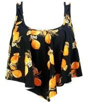 COCOSHIP Women's Retro Flounce Falbala Bikini Top Ruffled Racerback Padding Swim Tankinis(FBA)