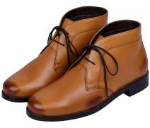 Lethato Men's Modern Classic Calfskin Leather Chukka Boots