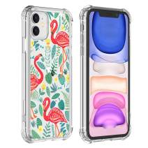 Flamingo Clear Case iPhone 11 2019, Cute Animal Girl and Women Back Cover, Transparent Flexible TPU Bumper Shockproof Protective Cover