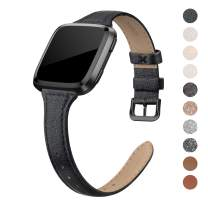 "QusFy Genuine Leather Bands Compatible with Fitbit Versa 2 / Fitbit Versa Lite & SE/Fitbit Versa, Slim Thin Leather Band Replacement Strap for Versa Women (5.7"" - 7.8""), Black, Rose Gold"