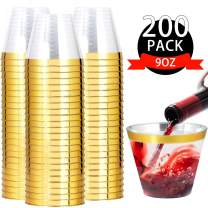 I00000 200pcs Gold Rimmed Plastic Cups,9 OZ Clear Disposable Tumblers, Old Fashioned Tumblers Perfect for Weddings, Valentine's Day, Parties