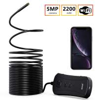NIDAGE Wireless Endoscope, Upgrade 5MP HD WiFi Borescope 1944P Semi-Rigid Snake Camera with 2200 mAh Battery for Android and iOS Smartphone Tablet Automotive Drain Pipe House Check(33FT)