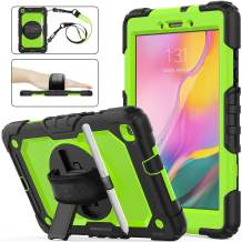 Samsung Galaxy Tab A 8.0 SM-T290/T295/T297 Case, SEYMAC Stock [Full-body] Drop Proof &Shockproof Hybrid Armor Case with 360 Rotating Stand[Pen Holder]Hand Strap for Galaxy Tab A 8.0 2019 (Green+Black)