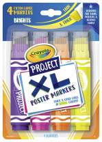 Crayola XL Poster Markers, Assorted Bright Colors, School Supplies, 4Count