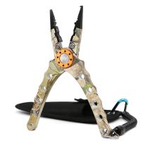 SAN LIKE Split Ring Pliers - Aluminum Fishing Pliers Hook Remover Tungsten Carbide Cutters Saltwater Resistant Fishing Gear Split Ring Fish Holder with Coiled Lanyard & Sheath Fishing Gifts for Men