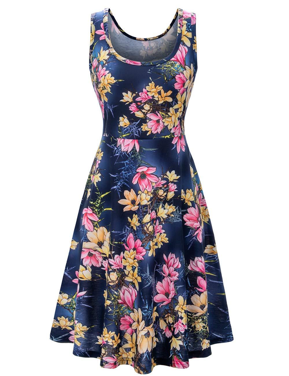 Herou Casual Floral Summer Sleeveless Dress for Women