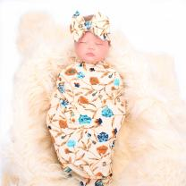 QTECLOR Newborn Receiving Blanket Headband Set - Unisex Soft Baby Swaddle Girl Boy Gifts (Leaf-Beige)
